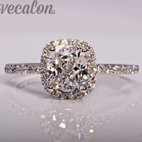 Wholesale Settings For Jewellry - Vecalon fashion Jewellry Design wedding Band ring for women cushion cut 3ct Cz diamond 925 Sterling Silver Female Finger ring