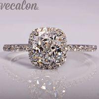 кольцо драгоценности оптовых-Vecalon мода Jewellry Design обручальное кольцо для женщин подушка огранки 3ct Diamond Стерлингового серебра 925 пробы Женский палец кольцо Подарок Size5-12
