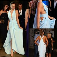 Wholesale Miranda Kerr Deep V Dress - Sexy Meant Green Chiffon Long Evening Dresses Deep V Neck Off The Shoulder Split Miranda Kerr Red Carpet Dresses