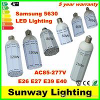 Wholesale E27 24v - SMD5630 LED Bulb E26 E27 E39 E40 LED Corn Light Bulbs 30w 40w 60watt 80w 100watt 120w 150w garden warehouse parking lot lamps