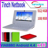 Baratos 7 polegadas Mini laptop notebook Android VIA8880 Dual Core Android 4.4 Wifi Netbook Laptop 512 4GB 1.5GHz + Webcam HDMI 10pcs ZY-BJ-1