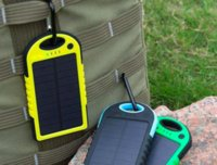 Wholesale Android Phone Solar Charger - Dual USB 5000mAh Waterproof Solar Power Bank Portable Charger Outdoor Travel Enternal Battery Powerbank for iPhone Android phone