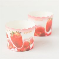 Wholesale Strawberry Cupcake Liners - Free Shipping strawberry decoration cake cupcake cups cases holder, big paper muffin decoration cup wedding liners
