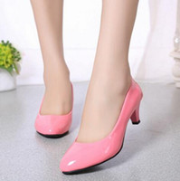 Wholesale Grey Dress Work Office - Super beautiful pink patent around head low heels comfortable working shoes women shallow single shoes low heels Leather shoes