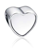 Wholesale Chamilia Pandora Beads 925 Silver - 925 sterling silver blank heart photo bead Metal Slider Big Hole European Charms Fit Pandora Chamilia Biagi Bracelet
