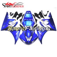 Blue White Full Injection Carrinhos completos para Yamaha YZF600 R6 YZF-R6 05 Ano 2005 ABS Motorcycle Fairing Kit Cowlings Body Frames Painel