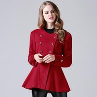 Wholesale worsted wool coat double breasted - Fashion Wool Blends Coat O-neck Coats Woman Cotton Loose 2017 Spring Winter Red Elegant Double Breasted Female