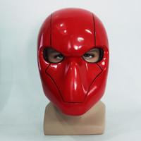Wholesale Red Hood Cosplay - Cosplay Red Hood Mask Batman Red Hood Helmet Full Head PVC Cosplay Costume Prop Replica Fancy Party Headwear