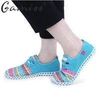 Wholesale Wholesalers Women Flat Shoes - Gamiss Summer Flat Shoes Woman Casual Flats Lace-Up Rainbow Strip Outdoor Women Flat Shoes Plus Size Unisex Lover Flat Shoes
