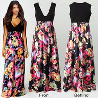 Wholesale Elegant Print Runway Dress - 2016 Vintage Women's Floral Maxi Dresses Women Black Print Long Casual deep V Dress Elegant Ladies Sexy Backless Business Party Evening Gow