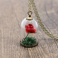 Wholesale Vintage Crystal Bottles Wholesale - Ningxiang Vintage Natural Red Forever Rose Flower Beauty And The Beast Glass Bottle Retro Pendant Necklace Women Girl Best Gift