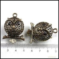 Wholesale Brass Coin Charms - 15 pcs lot Wholesale Fashion Antique Brass Matel Hollow Owl Charms For Charm Bracelets 40mm 141853 charms for charm bracelets suppliers