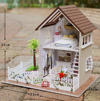 Wholesale Townhouse Dollhouse Furniture - house miniatures house furniture miniatura diy doll houses miniature dollhouse wooden handmade toys for children birthday gift A-025