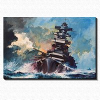 Wholesale Pub Pictures - Warships sailing in the storm Painting Picture Canvas Poster Home Bar Pub Garage Art Decorative Print Canvas Painting 60*40cm