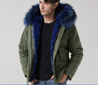 Wholesale Mr Mini - Blue fur Men style Mr & Mrs Italy rabbit Fur lined canvas parka raccoon-fur hood trim Mr & Mrs furs mini parka