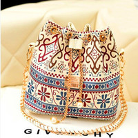 Wholesale Drawstring Bucket Bag Handbag - Bohemia Canvas Drawstring Bucket Bag Shoulder Handbags Women Messenger Bags Bolsa Feminina Bolsos
