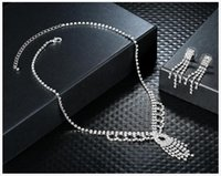 Wholesale Silver Ball Piercing - 2016 Hot Selling New Wedding Jewellery sets Rhinestone Diamantes Shiny Wedding Jewelry Sets Necklace bracelet and earrings