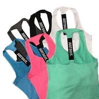 Wholesale Women S Camisoles Wholesale - Women Brands Fitness Yoga Vest 2017 Brands Fashion Letter Just Do It Quick Drying Running Jogging Gym Shirts Tank Top Sportswear Camisole
