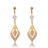 Wholesale Belly Dance Jewelry Gold - 10pcs Gold Plated Dangle Long Tassel Drop Crystal Navel Bell Button Rings Women Sexy Belly Dance Piercing Body Jewelry Summer Style