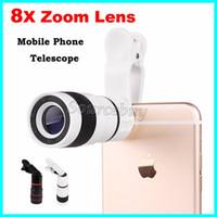 ampliación para la cámara del iphone al por mayor-Teléfono móvil Telescopio 8X Lente de zoom Lupa Lupa Teleobjetivo óptico Lente de la cámara para iPhone Samsung Galaxy HTC Paquete minorista DHL