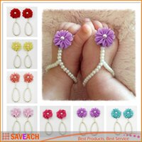 Wholesale Toddler Props For Photography - Newborn baby flower barefoot sandal sets chiffon flower footwear for Photography props Baby First Walker Baby Toddler Foot Rings