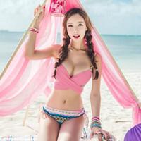 Wholesale Korean Sexy Woman Bikini - 2016 Swimwears Triangle Women's korean Neoprene Bikinis Woman Summer Sexy Swimsuit Bath Suit Push Up Bikini set Bathsuit C0920