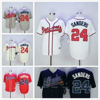Wholesale Deion Sanders Braves Jersey White Home Gray Road Navy Blue Red Cream Alternate Stitched Atlanta Braves Baseball Jerseys