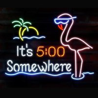 """Wholesale Pink Disco Lights - New It's 5 O'clock Somewhere Pink Flamingo Glass Neon Sign Light Beer Bar Pub Sign Arts Crafts Gifts Sign 19"""""""