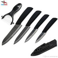 """Wholesale Ceramic Knives Sets - D008 FINDKING Damascus Pattern black blade black handle 3"""" 4"""" 5"""" 6"""" inch + Peeler + covers ceramic knife set kitchen knife set"""