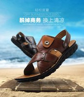 2016 nuova estate della piattaforma di marca Genuine Leather Sandals Men Slip-On diapositive piano casuale Beach sandali giallo chiaro Nero Marrone