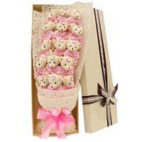 Wholesale Wedding Soft Teddy Bears - NEW Handmade Wedding bridal bouquet Soft Plush Toy Bouquet Teddy Bear Bouquet Cartoon Doll Fake Rose Valentine Graduation Gift