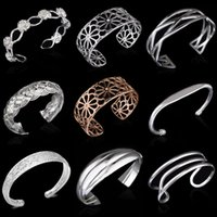 Wholesale Hollow Cuff Bracelet - 2016 Fashion 925 Silver Brand Bracelet 9 Mix Styles Gold Plated Charms Hollow Cuff Bangle Bracelets Jewelry for Women Top Quality