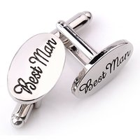 Wholesale Groom Groomsmen Shirts - Mens Wedding Cufflinks OVAL Shirt Cuff Link Clips Best Man Grooms   Groomsman Usher Page Gift Accessories
