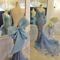 Wholesale Big Silver Sequin - African Lace Prom Dresses Mermaid Style Sheer Neckline Jewel Backless Sexy Long Sleeves Evening Dress Long Big Bow Celebrity Party Gown
