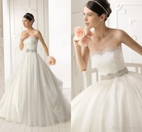 Wholesale Strapless Fold Wedding Dress - No Risk Shipping - 2014 Modern A-line Strapless Fold Chiffon Wedding Dresses Glamorous Applique Crystal Beaded Sashes Bridal Gowns
