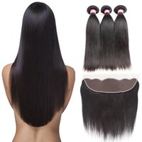 Wholesale human front hair weave online - 8A Mongolian Lace Front Closure with Straight Virgin Hair Weave Bundles x4 Lace Frontal Closure Remy Human Hair Wefts with Closure