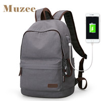 Wholesale Anti Coffee - 2017 Muzee New Canvas Backpack Anti-theft College Students School Backpack USB Charging Design Bags for Teenager Travel Backpack