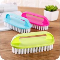 kıyafetler için fırçala toptan satış-Ev Plastik Temizleme Fırçası Saplı Giysi Fırçası Güçlü Temizleme Gücü ile Scrubber Döşeme veya Küvet İçin