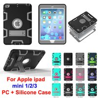 Wholesale Ipad4 Case Stand - Hybrid 3 in 1 Robot Protection PC + Silicone Dual Color Rubber Skin Stand Shockproof Cover Armor Case for ipad4 ipad 2 3
