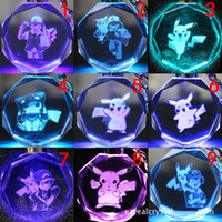 Wholesale 3d Alloy Key Chains Wholesale - Poke Crystal Keychain 3D Cartoon Keyring Pocket Monster Anime Game Figure Gifts Led Key Chain 171 Designs F773-1