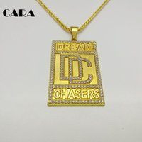 Wholesale Dc Tin - CARA New Men Bling Bling Full Rhinestone Dream Chaser Pendants Necklaces men hip hop Gold color Zinc alloy DC necklace CARA0258