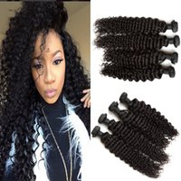Wholesale human hair wefts deep waves resale online - Peruvian Hair Bundles Deep Wave Virgin Peruvian Human Hair Weaves Deep Curly Hair Wefts No Shedding G EASY