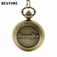 Wholesale Great Value - BESTIME Watch The Greatest Grandpa Design Gift Pocket Watch Chain Quartz Movement White Dial Value Quality Roman Numeral