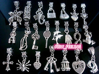 Wholesale Bulk Charms Love - 100pcs mix Tibetan Silver Charms Beads for Jewelry Making Loose Charms DIY Big Hole Beads for European Bracelet Wholesale in Bulk Low Price