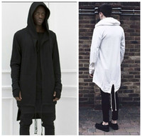 Wholesale black hooded cloak cape - 2016 Hoodies For Men Urban Hoodie Hip Hop Jacket White Black Men's Coat Extended Cape Hoodie Mens Hooded Cloak Hoodies