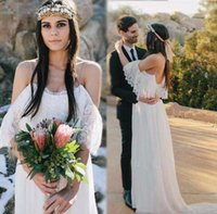 Wholesale Pleated Empire Waist Garden Bridal - Maternity Wedding Dresses For Pregnant Women 2017 Boho Lace Chiffon Bohemian Wedding Dress Empire Waist A Line Greek Style Bridal Gowns