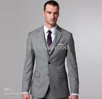 Wholesale Light Grey Suit Purple Tie - Light Grey Side Slit Two Buttons Groom Tuxedos Notch Lapel Best Man Groomsmen Men Wedding Suits Bridegroom (Jacket+Pants+Tie+Vest)
