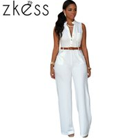 Wholesale Wide Leg Orange - Wholesale-Zkess Adult 7 Colors Plus Size 2XL Women Playsuits Fashion White Belted Wide Leg Jumpsuit Rompers Long Macacao Overalls LC60932