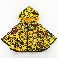 Wholesale High Quality Winter Children Coats - Children shawl capes boys girls cute yellow samll duck cloaks coat high quality kids cartoon printed hooded velvet poncho outwear R1054