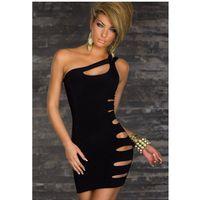 Wholesale One Shoulder Clubwear Dress Black - Sexy Nightclub Bandage Dress Mini Clubwear Dress Summer Sexy Women Party Evening Black one Shoulder Dress Erotic Dirndl